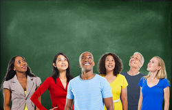 Diverse Happy People and Chalkboard Background Stock Photography