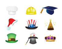diverse hat selection icon set Stock Images
