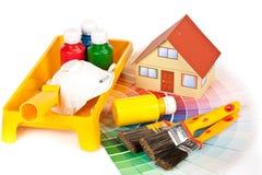Diverse het schilderen hulpmiddelen Stock Fotografie