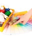 Diverse het schilderen hulpmiddelen Stock Afbeeldingen
