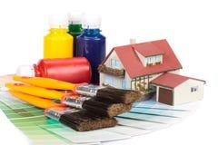 Diverse het schilderen hulpmiddelen Stock Foto