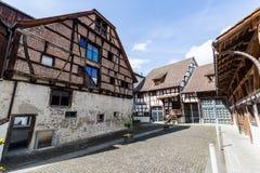Diverse huizen in de oude stad van Stein am Rhein stock afbeeldingen