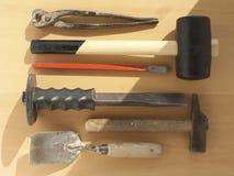 Diverse hulpmiddelen van een vakman Stock Fotografie