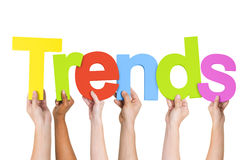 Diverse Human Hands Holding Word Trends Royalty Free Stock Photo