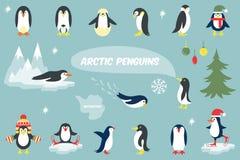 Diverse illustration de vecteur de bande dessinée de pingouins Image libre de droits