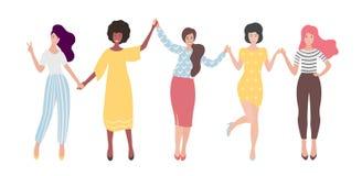 Diverse international group of standing women or girl holding hands. Sisterhood, friends, union of feminists.