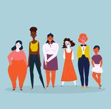 Illustration of a diverse group of women. Feminine. Diverse international and interracial group of standing women. For girls power concept, feminine and feminism Royalty Free Stock Image