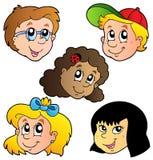 Diverse inzameling van kinderengezichten Stock Afbeeldingen
