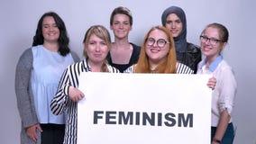 Diverse Kaukasische groep meisjes die bevinden zich met zingt feminisme dicht bij elkaar die binnen glimlachen stock videobeelden