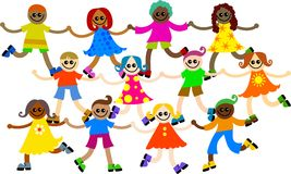 Diverse kids. Group of happy and diverse kids holding hands Stock Photos