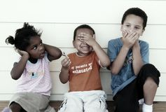 Diverse kids. Hear no evil see no evil speak no evil Royalty Free Stock Photo