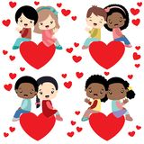 Diverse kids couples sitting on hearts valentine. Diverse children pairs sitting on a big hearts waving. Suitable for Valentines Day cards or other loving Stock Images