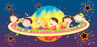Diverse Kids In Space Stock Photography