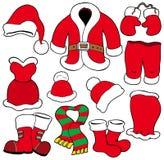 Diverse kleren van de Kerstman vector illustratie