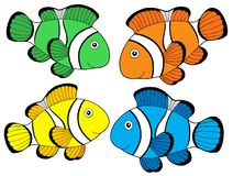 Diverse kleur clownfishes 1 Stock Afbeeldingen