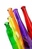 Diverse kleurenfles op het wit Stock Afbeelding
