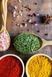 Diverse kleurrijke kruiden en kruiden op houten lijst Royalty-vrije Stock Foto