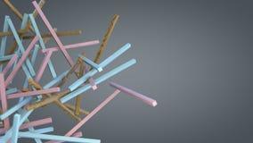 Diverse kleurrijke stokken die in lege ruimte drijven Stock Foto