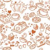 Diverse koffie, cake, cupcake, Sandwich, koekjes, voorgerecht en drank naadloze de tekeningslijn van de patroonschets door bruine Royalty-vrije Stock Afbeeldingen