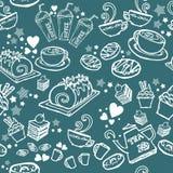 Diverse koffie, cake, cupcake, Sandwich, koekjes, voorgerecht en drank naadloze de tekeningslijn van de patroonschets door witte  Stock Foto's