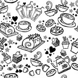 Diverse koffie, cake, cupcake, Sandwich, koekjes, voorgerecht en drank naadloze de tekeningslijn van de patroonschets door zwarte Stock Fotografie
