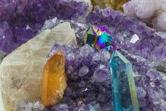 Diverse kristallen in een stapel royalty-vrije stock foto's