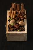 Diverse kruiden in een houten doos: kaneel, notemuskaat, kardemom, kruidnagels, anijsplantsterren royalty-vrije stock afbeelding