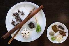 Diverse kruidenkaneel, steranijsplant, sarlic, zwarte pepers, corria Royalty-vrije Stock Afbeelding