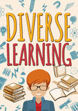 Diverse learning poster with student and books Royalty Free Stock Photo