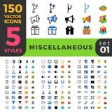 Diverse 150 linje plan isometrisk mobil rengöringsduk s royaltyfri illustrationer