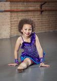 Diverse little dancer dancing at a dance studio Stock Image