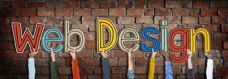 Diverse mani che tengono il web design di parole immagine stock