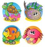 Diverse mariene diereninzameling vector illustratie