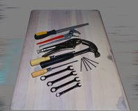 Diverse mechanische hulpmiddelen voor werktuigkundigen en bouwers stock foto