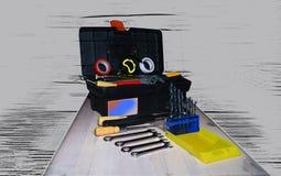 Diverse mechanische hulpmiddelen voor werktuigkundigen en bouwers stock afbeelding