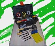 Diverse mechanische hulpmiddelen voor werktuigkundigen en bouwers stock foto's