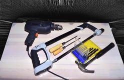Diverse mechanische hulpmiddelen voor werktuigkundigen en bouwers stock fotografie