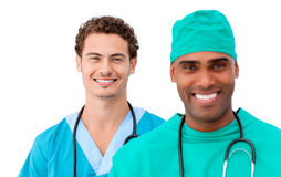 A diverse medical team standing in a row Royalty Free Stock Image
