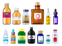 Diverse medische flessen De beelden van het gezondheidszorgconcept van drugsflessen met etiketten vector illustratie