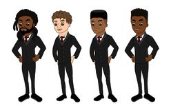 Diverse men in business suits cartoon stock illustration
