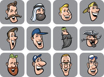 Diverse men faces  illustration Royalty Free Stock Image