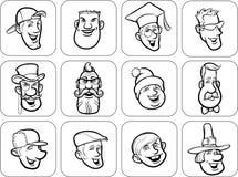 Diverse men faces outline vector illustration Stock Photos