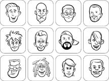 Diverse men faces outline vector illustration Stock Photography