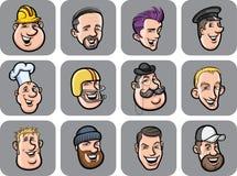 Diverse men faces vector illustration
