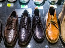 Diverse men shoes made of leather, mens footwear fashion, business man outfit stock photography