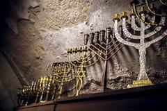 Diverse menorahs stock afbeeldingen