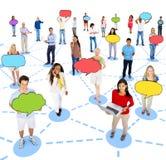 Diverse Mensen en Sociale Voorzien van een netwerkconcepten Stock Foto's