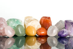 Diverse mineraliska stenar, kristall som läker för alternativ mig royaltyfria bilder