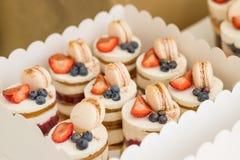 Diverse minicakes Snoepjes met verse bessen voor vakantie worden verfraaid die Smakelijke cake kleine cakes met diverse bessen en royalty-vrije stock afbeelding