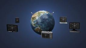 Diverse mobiele apparaten die de Globale communicatietechnologie van het aardenetwerk verbinden royalty-vrije illustratie